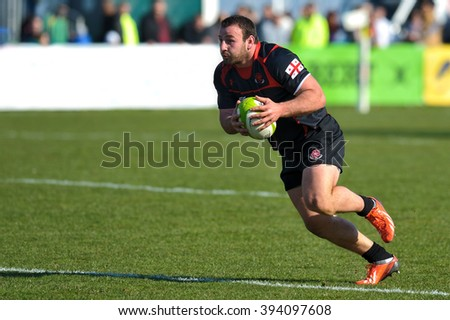 BUCHAREST, ROMANIA - MARCH 21: Unidentified rugby player during Romania vs Georgia in European Nations Cup at National Stadium, score 7-26, on March 21 , 2015 in Bucharest, Romania - stock photo