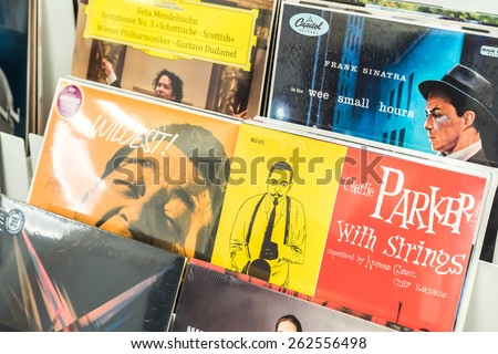 BUCHAREST, ROMANIA - MARCH 22, 2015: Vinyl Records Featuring Famous Music For Sale In Music Media Shop.