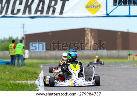 BUCHAREST, ROMANIA - MAY 16: Aldrin Opran, number 9, competes in National Karting Championship, Round 1, on May 16, 2015 in Bucharest, Romania.