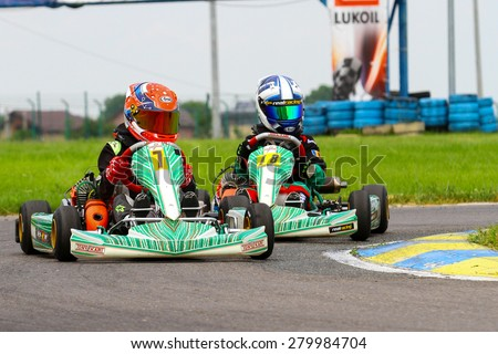 BUCHAREST, ROMANIA - MAY 16: Andrei Carcea, number 9, competes in National Karting Championship, Round 1, on May 16, 2015 in Bucharest, Romania.