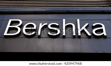 Bucharest, Romania, May 7, 2016: Bershka logo. Bershka was created in 1998 as a new store and fashion concept, aimed at a young market. It now has over 1000 stores in 71 countries around the world