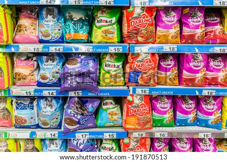 BUCHAREST, ROMANIA - MAY 05: Cat Food Products On Animals Supermarket Shelf on May 05, 2014 in Bucharest, Romania.