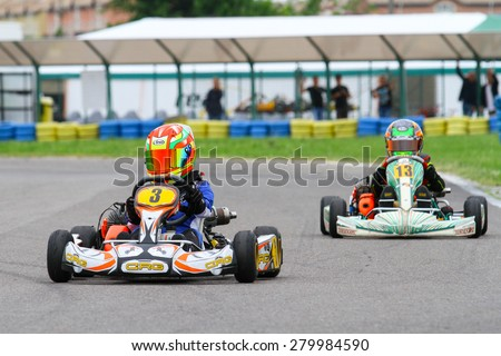 BUCHAREST, ROMANIA - MAY 16: Darius Babaioana, number 3, competes in National Karting Championship, Round 1, on May 16, 2015 in Bucharest, Romania.
