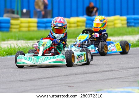BUCHAREST, ROMANIA - MAY 16: Denisa Muresan, number 8, competes in National Karting Championship, Round 1, on May 16, 2015 in Bucharest, Romania.