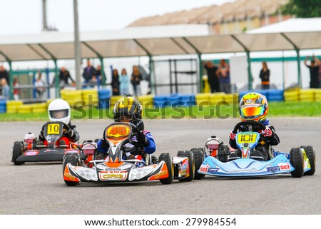 BUCHAREST, ROMANIA - MAY 16: Eric Enache, number 45, competes in National Karting Championship, Round 1, on May 16, 2015 in Bucharest, Romania.
