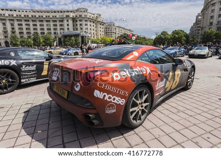 BUCHAREST, ROMANIA - MAY 7: Ferrari 599 on display in Constitution Square on May 7, 2016 in Bucharest. The car is part of the Gumball 3000 Dublin to Bucharest Charity Grid Rally. - stock photo
