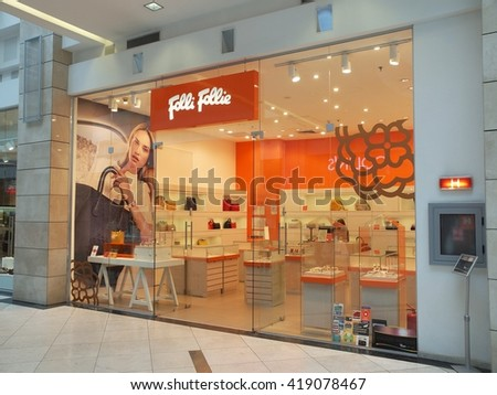 BUCHAREST, ROMANIA - MAY 09, 2016. Folli Follie store in Cotroceni Shopping Mall in Bucharest. Folli Follie is currently active in 25 countries and employs more than 5,900 people.