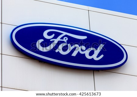 Bucharest Romania May 24 2016 Ford Logo On A Dealerships Building