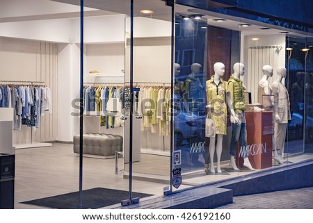 Bucharest, Romania - May 11, 2016: Interior of a clothing store in Bucharest city center.