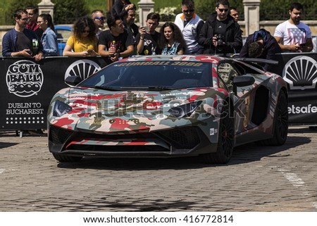 BUCHAREST, ROMANIA - MAY 7: Lamborghini on display in Constitution Sqare on May 7, 2016 in Bucharest. The car is part of the Gumball 3000 Dublin to Bucharest Charity Grid Rally. - stock photo