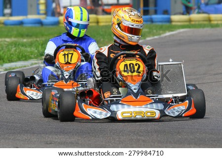 BUCHAREST, ROMANIA - MAY 16: Lucian Babaioana, number 402, competes in National Karting Championship, Round 1, on May 16, 2015 in Bucharest, Romania.