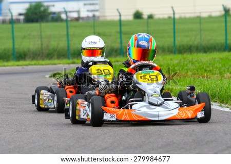 BUCHAREST, ROMANIA - MAY 16: Matia Curuia, number 58, competes in National Karting Championship, Round 1, on May 16, 2015 in Bucharest, Romania.
