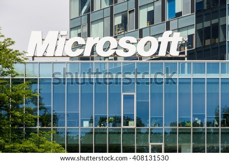 BUCHAREST, ROMANIA - MAY 13, 2015: Microsoft Corporation is an American multinational technology company in Washington that develops, manufactures, licenses, supports and sells computer software. - stock photo