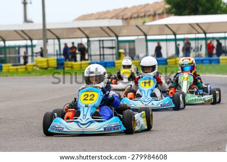 BUCHAREST, ROMANIA - MAY 16: Mihai Suteanu, number 22, competes in National Karting Championship, Round 1, on May 16, 2015 in Bucharest, Romania.