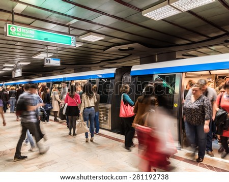 BUCHAREST, ROMANIA - MAY 24, 2015: People Waiting For Train In Central Subway Station In Downtown Bucharest. - stock photo