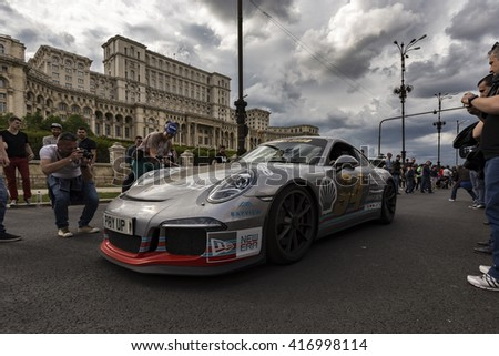 BUCHAREST, ROMANIA - MAY 7: Porsche on parade on May 7, 2016 in Bucharest. The car is part of the Gumball 3000 Dublin to Bucharest Charity Grid Rally. - stock photo