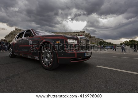BUCHAREST, ROMANIA - MAY 7: Rolls Royce Phantom on parade on May 7, 2016 in Bucharest. The car is part of the Gumball 3000 Dublin to Bucharest Charity Grid Rally. - stock photo
