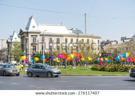 BUCHAREST, ROMANIA - MAY 01, 2015: Rush Hour In University Square Downtown Of Bucharest City.
