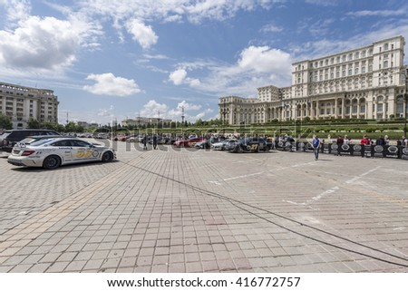 BUCHAREST, ROMANIA - MAY 7: Supercars on display in Constitution Square on May 7, 2016 in Bucharest. Cars are part of the Gumball 3000 Dublin to Bucharest Charity Grid Rally.