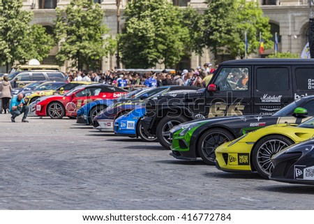 BUCHAREST, ROMANIA - MAY 7: Supercars on display in Constitution Square on May 7, 2016 in Bucharest. Cars are part of the Gumball 3000 Dublin to Bucharest Charity Grid Rally. - stock photo