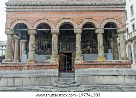 BUCHAREST, ROMANIA - MAY 25, 2014. The Church Kretzulescu build by Iordache Cretulescu in 1720-1722. Exterior detail.