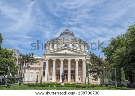 BUCHAREST, ROMANIA - MAY 09: The Romanian Athenaeum on May 09, 2013 in Bucharest, Romania. Opened in 1888 it is a concert hall in the center of Bucharest and a landmark of the Romanian capital city.