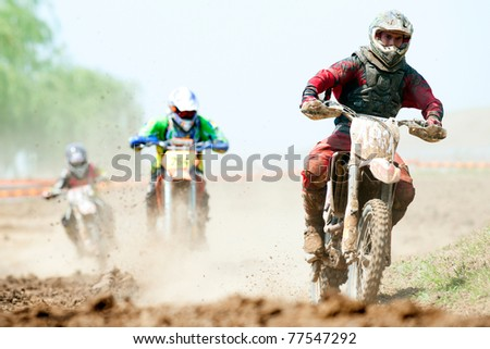 BUCHAREST, ROMANIA - MAY 14: Unidentified  riders participate at the Third National Endurocross Championship on May 14, 2011 at Ciolpani in Bucharest, Romania