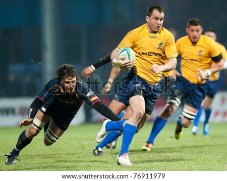 BUCHAREST, ROMANIA - MAY 19: Unidentified rugby players during Romania vs Spain in European Nations Cup at National Stadium, score 64-8, on May 19 , 2011 in Bucharest, Romania