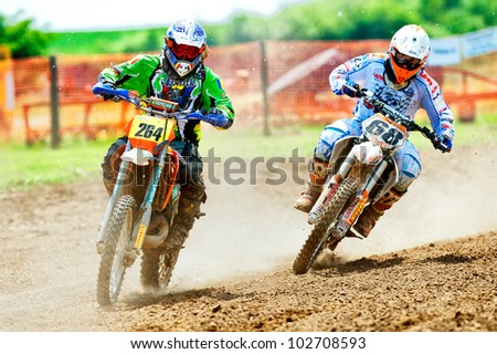 BUCHAREST, ROMANIA - MAY 14: Unknown riders participates at the third of the National Endurocross Championship, May 14, 2011 at Ciolpani, Bucharest, Romania