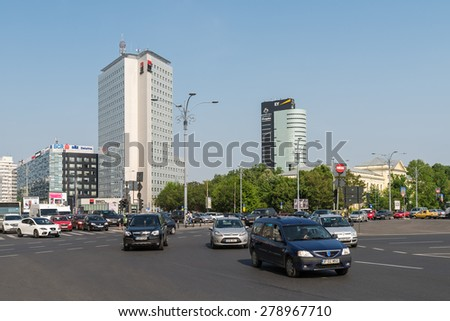 BUCHAREST, ROMANIA - MAY 17, 2015: Victory Square is a major intersection in central Bucharest of some of the main streets Calea Victoriei and Kiseleff Boulevard. - stock photo