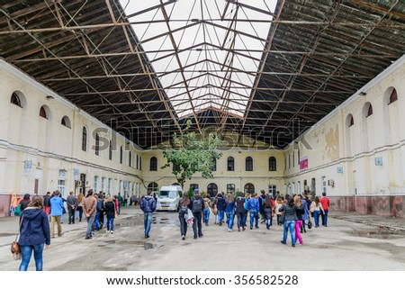 Bucharest, Romania - November, 15:  Filaret Station - the first railway station in Bucharest  - bus terminal on november 15, 2015 in Bucharest, Romania. The roof of the station with a view of the sky - stock photo