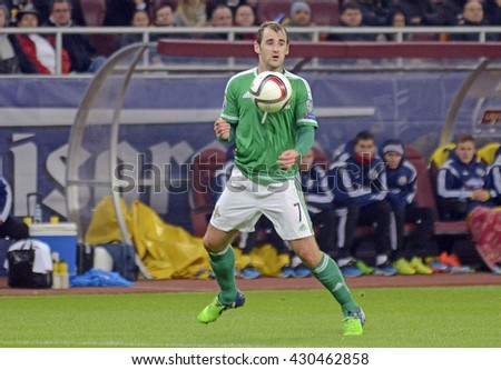 BUCHAREST, ROMANIA - NOVEMBER 14, 2014: Niall McGinn pictured during the European Qualifier game between Romania and Northern Ireland on National Arena.
