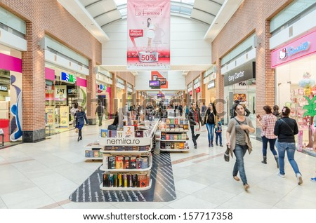 BUCHAREST, ROMANIA - OCTOBER 09: AFI Cotroceni Shopping Mall on October 09, 2013 in Bucharest, Romania. One of the most important mall in town, it is located in the central-western part of the city. - stock photo