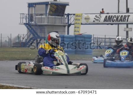 BUCHAREST, ROMANIA - OCTOBER 17: Alexandru Tunaru competes in FRAS Dunlop Karting Championship. Stage 3. October 17, 2010 in BUCHAREST, ROMANIA.
