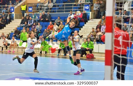 Bucharest, ROMANIA - OCTOBER 16:Ana Paula Rodrigues player of CSM Bucharest attacks during the match with MKS Selgros Lublin, score 33-21, in EHF Champions League October 16,2015 in Bucharest, Romania