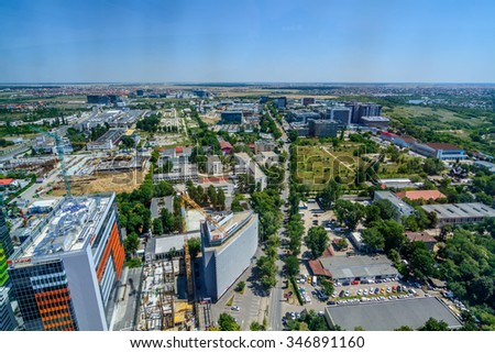 BUCHAREST, ROMANIA - OCTOBER 25, 2015: Bucharest North Side, Business District. Since 2000, the city has been continuously modernized and is still undergoing urban renewal.