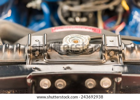BUCHAREST, ROMANIA - OCTOBER 31, 2014: 1970 Ford Mustang Mach1 Engine View. From 1964 Ford Mustang is an American automobile (muscle car) manufactured by the Ford Motor Company. - stock photo