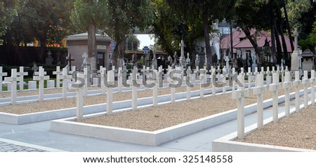 BUCHAREST, ROMANIA - OCTOBER 2015: Graves of French soldiers who died in Romania in the First World War between 1916 and 1919 stand in Bellu Military Cemetery.