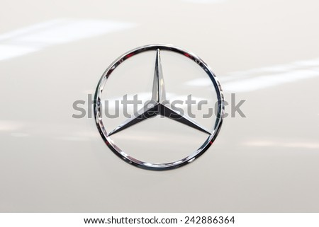 BUCHAREST, ROMANIA - OCTOBER 31, 2014: Mercedes Benz Sign Close Up. Founded in 1926 is a German luxury automobile manufacturer, a multinational division of the German manufacturer Daimler AG. - stock photo