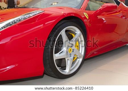 BUCHAREST, ROMANIA - SEPT.20:Romanian Ferrari importer Forza Rossa launches new Ferrari model Four (FF) on Sept 20, 2011 in Bucharest.The model was launched by former F1 driver Giancarlo Fisichella. - stock photo