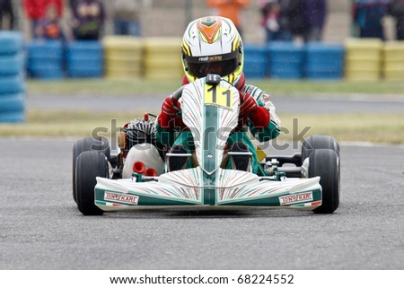 BUCHAREST, ROMANIA - SEPTEMBER 25: Andrei Ponta competes in FRAS Dunlop Karting Championship. Stage 2. September 25, 2010 in Bucharest, Romania.