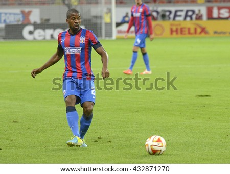 BUCHAREST, ROMANIA - SEPTEMBER 18, 2014: Nicandro Breeveld pictured during the UEFA Europa League game between Steaua Bucuresti and Aalborg on National Arena. - stock photo
