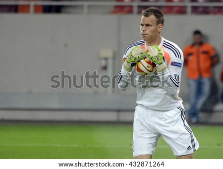 BUCHAREST, ROMANIA - SEPTEMBER 18, 2014: Nicolai Larsen pictured during the UEFA Europa League game between Steaua Bucuresti and Aalborg on National Arena. - stock photo