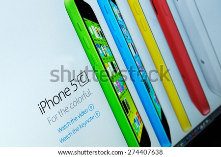 Bucharest, Romania - September 09: Photo of Apple homepage on a monitor screen, on 09 September, 2014, in Bucharest, Romania  - stock photo