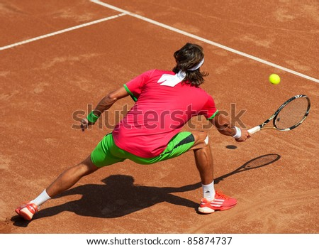 BUCHAREST, ROMANIA - SEPTEMBER 17: Tennis player in action during BRD Nastase Tiriac Trophy on September17, 2011 in Bucharest, Romania - stock photo