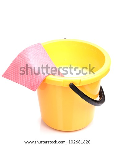 Bucket and cloth for cleaning isolated on white