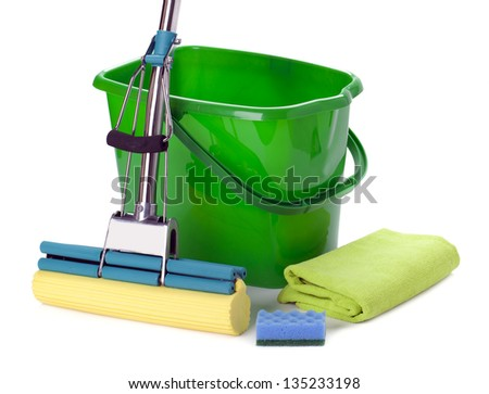 Bucket and mop isolated on white background. - stock photo
