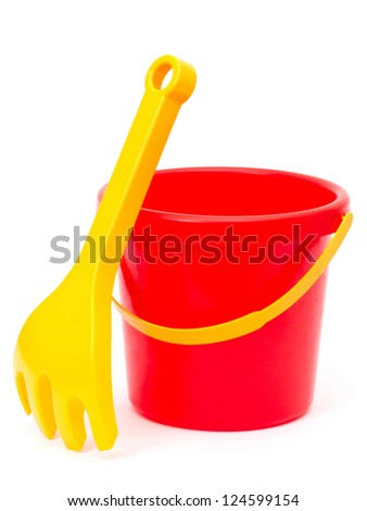 bucket and rake, toys, isolated on white