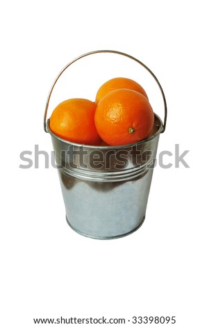 Bucket full of oranges isolated on white background