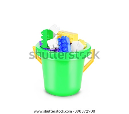 Bucket full of plastic block isolated on white background. - stock photo